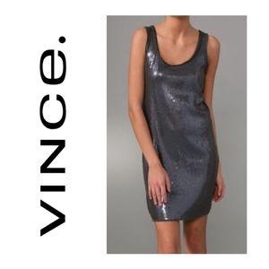 EUC VINCE Square Sequin Tank Dress Pewter SZ L